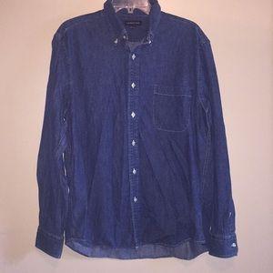 LANDS' END Blue Jean Button Down Shirt Size L